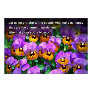 Charming Gardeners Proust Quote Cheerful Pansies Poster