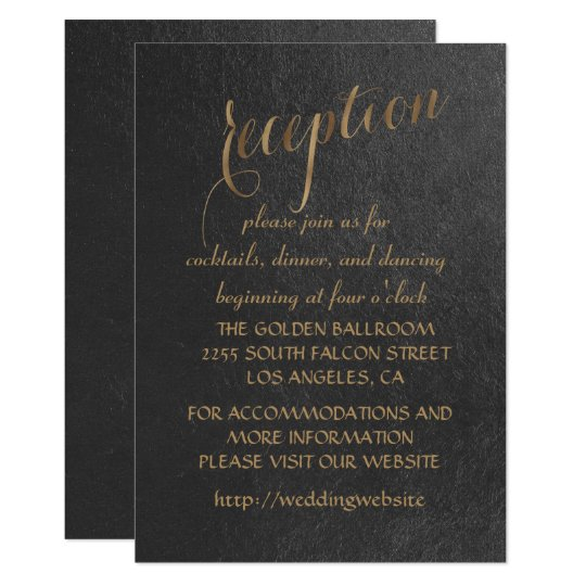 Charming Gold Foil Black Wedding Reception Card