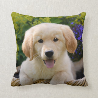 Charming Goldie Cute Puppy Portrait, Square Throw Pillow