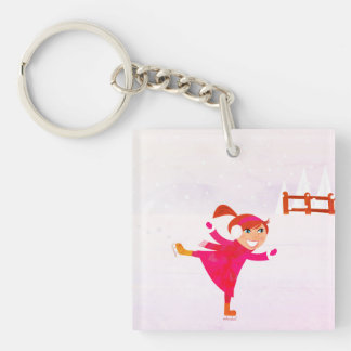 Charming ice skating girl : with Pink Double-Sided Square Acrylic Key Ring