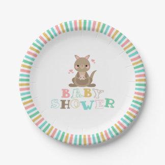 Charming Kangaroo Baby Shower Paper Plate