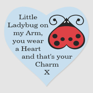 Charming Little Ladybug Bug Heart Stickers Blue