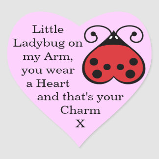 Charming Little Ladybug Bug Heart Stickers Pink