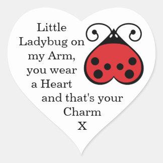 Charming Little Ladybug Ladybird Heart Stickers