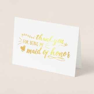 Charming Maid of Honor Thank You Foil Card