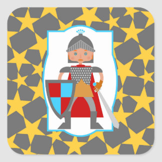 Charming medieval knight square sticker