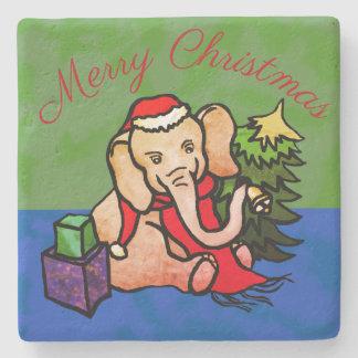 Charming Merry Christmas Santa Cartoon Elephant Stone Coaster