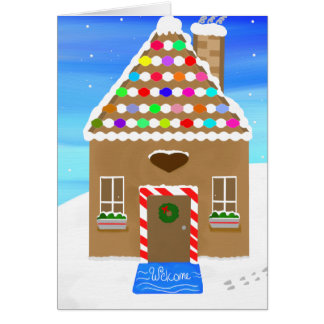 Charming Oil Painted Gingerbread House Card