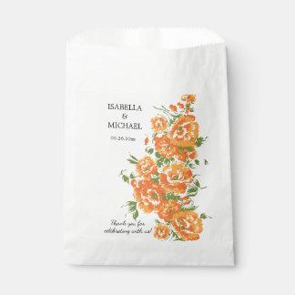 Charming Orange Flower Wedding Favour Bags