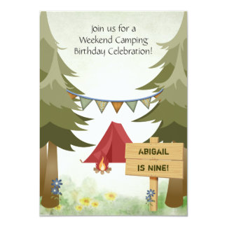 Charming Personalized Camping Girls Birthday Party 11 Cm X 16 Cm Invitation Card