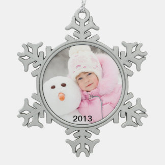 Charming Photo and Year Pewter Holiday Ornament