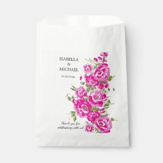 Charming Pink Flower Wedding Favour Bags