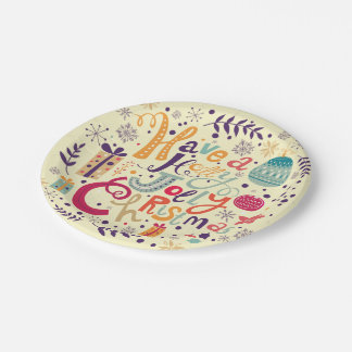 Charming Retro Holly Jolly Christmas Text Design 7 Inch Paper Plate