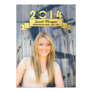 "Charming Ribbon Graduation Announcement 5"" X 7"" Invitation Card"