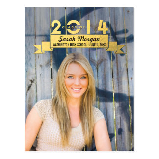 Charming Ribbon Graduation Announcement Post Cards