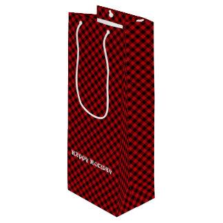 Charming Rustic Red Black Buffalo Plaid Pattern Wine Gift Bag