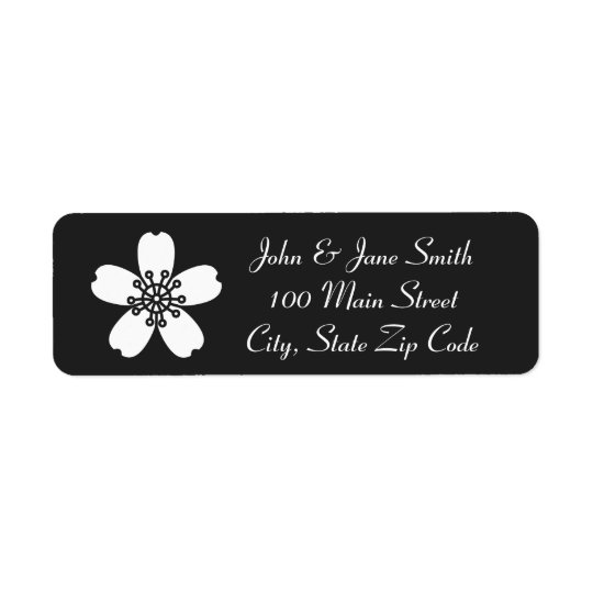 Charming Sakura in Black Return Address Label