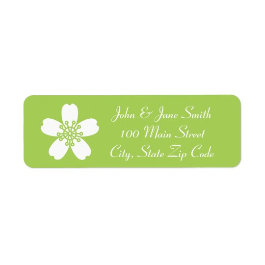 Charming Sakura in Peridot Return Address Label