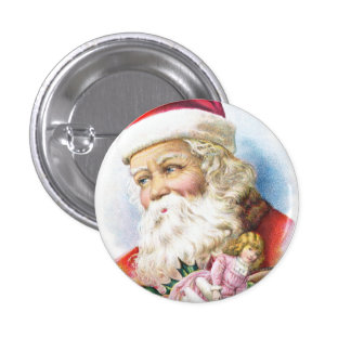 Charming Santa Claus with Toys Button