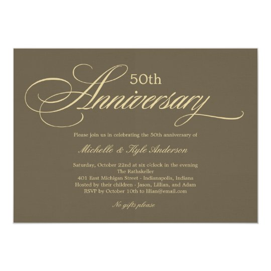 Charming Script Anniversary Invitation - Golden