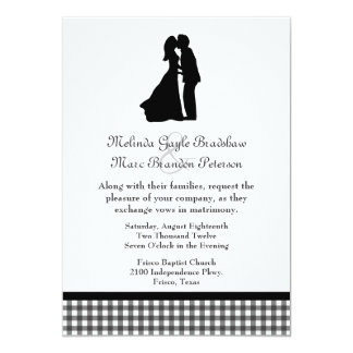 Charming Silhouette Kissing Couple Wedding 13 Cm X 18 Cm Invitation Card