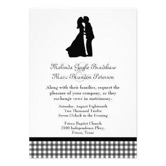 Charming Silhouette Kissing Couple Wedding Invite