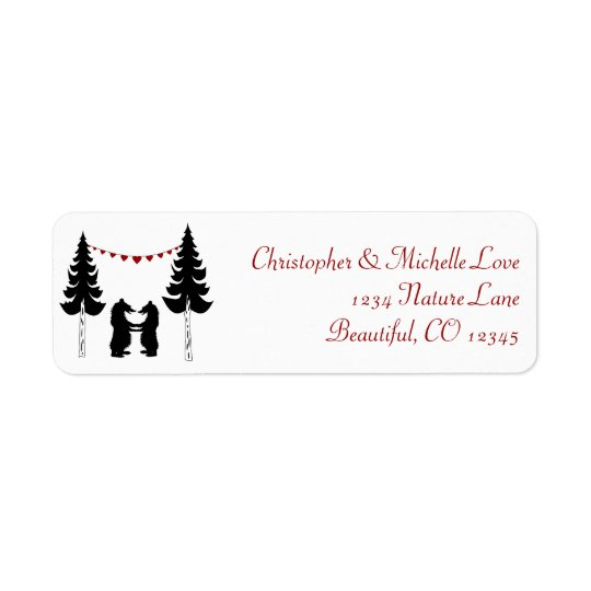 Charming Silhouette Mountain Bears Address Return Address Label