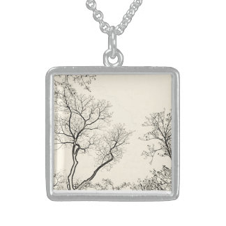 Charming silver winter tree square necklace