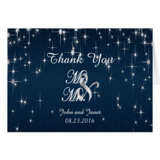 Charming Star Struck Wedding | Brush Navy Blue Card