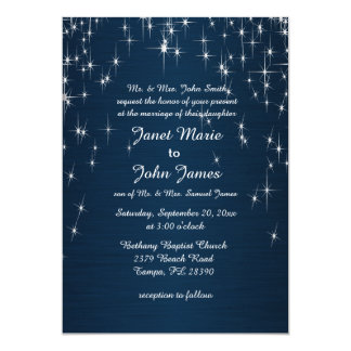 Charming Star Struck Wedding | Navy Blue 13 Cm X 18 Cm Invitation Card