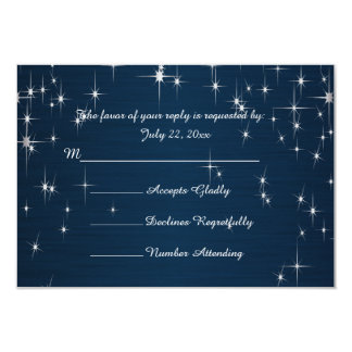 Charming Star Struck Wedding | Navy Blue 9 Cm X 13 Cm Invitation Card