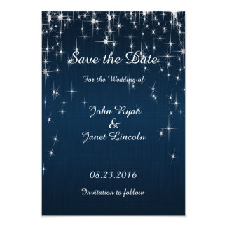 Charming Star Struck Wedding | Navy Blue 9 Cm X 13 Cm Invitation Card