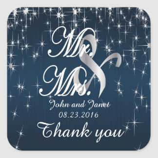 Charming Star Struck Wedding | Navy Blue Square Sticker