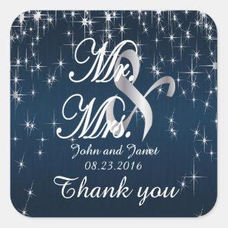 Charming Star Struck Wedding | Navy Blue Square Sticker