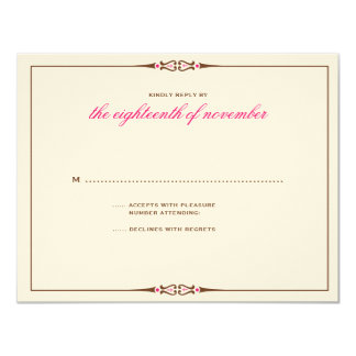 Charming Tiles Wedding RSVP Brown Pink Card