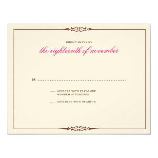 Charming Tiles Wedding RSVP Brown Pink 11 Cm X 14 Cm Invitation Card