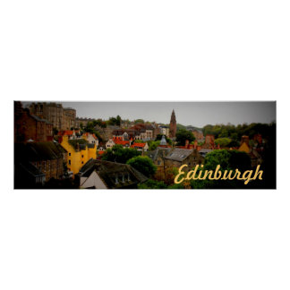 charming tinted Edinburgh souvenir poster