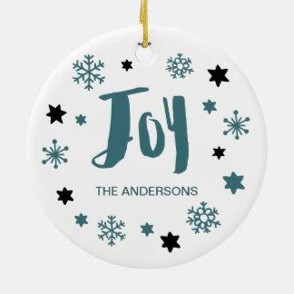 Charming Trendy Joy Blue Green Holiday Christmas Ornament