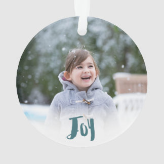 Charming Trendy Joy Blue Green Holiday Photo Ornament