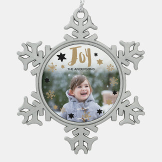 Charming Trendy Joy Holiday Photo Pewter Snowflake Decoration