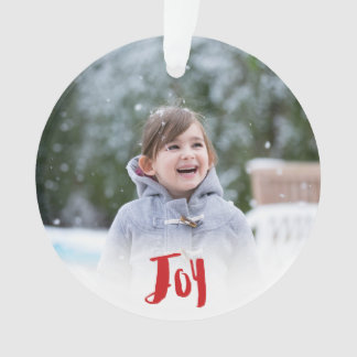 Charming Trendy Joy Red Holiday Photo Ornament