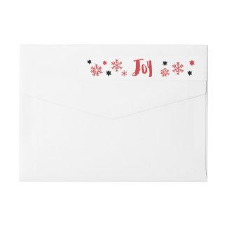 Charming Trendy Joy Red Holiday Wrap Around Label