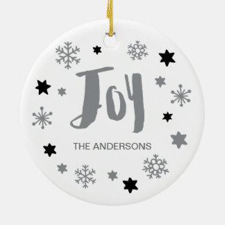 Charming Trendy Joy Silver Gray Holiday Christmas Ornament
