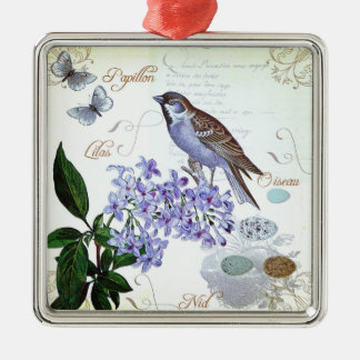 Charming Vintage French Bird Text Floral Collage Christmas Ornament