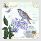 Charming Vintage French Bird Text Floral Collage Square Sticker