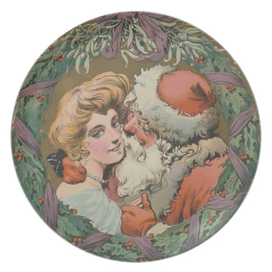 Charming Vintage Kissing Santa Christmas Wreath Plate