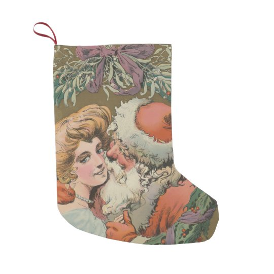 Charming Vintage Kissing Santa Christmas Wreath Small Christmas