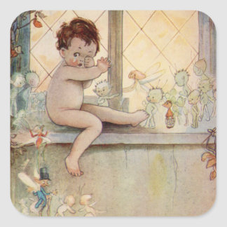 Charming Vintage Peter Pan at window with fairies Square Sticker