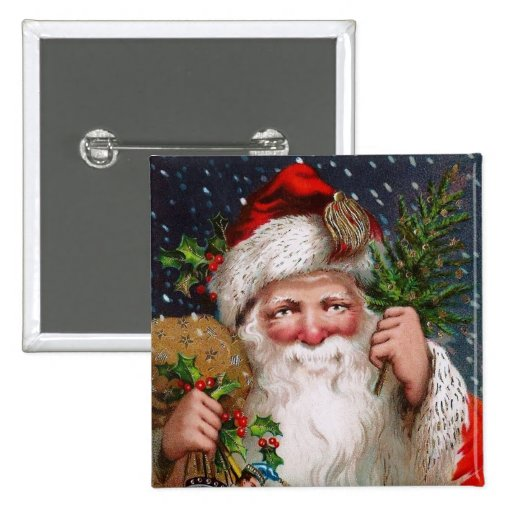 Charming Vintage Santa Claus Pinback Button