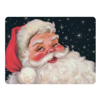 Charming Vintage Santa Claus 17 Cm X 22 Cm Invitation Card